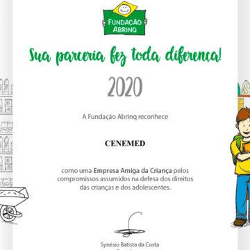 Grupo Cene recebe selo  Empresa Amiga da Criança da Fundação Abrinq 2020